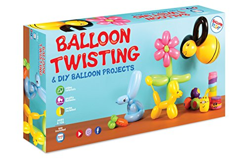 Y&A BalloonPlay Balloon Making Kit Plus Interactive Dedicated App: more than 30 fun projects and models - 58 Balloons in 4 Sizes and in Various Colors, Dual-Action Pump, Pen, & Stickers by Balloon Play