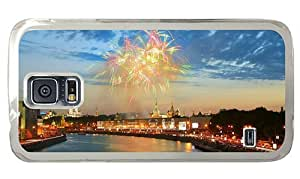 Hipster Samsung Galaxy S5 Case amazing Firework Moscow PC Transparent for Samsung S5