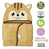 Squirrel Hooded Baby Towel | 100% Organic Bamboo, Baby Bath Towel, Large Size 40 X 28, Eco-Friendly, Best Gift, Boy & Girl, for Baby Ifant Toddler | by zelpee