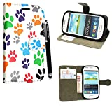 Samsung Galaxy S3 Mini i8190 Case, Kamal Star® PU Leather Flip Protective Magnetic Wallet Cover Case + Free Stylus ( Multi Dog Cat Paw Print Book)