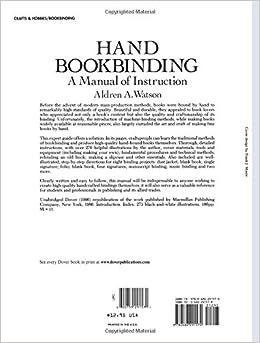 hand bookbinding a manual of instruction aldren a. Black Bedroom Furniture Sets. Home Design Ideas