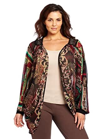 Democracy Women's Plus-Size Cozy With Contrast Lace Back Cardigan Shall, Purple, 1X