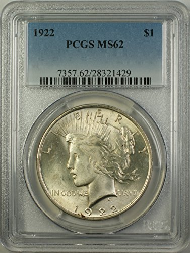 1922 Peace Silver Dollar Coin (ABR12-Q) Better Coin $1 MS-62 PCGS