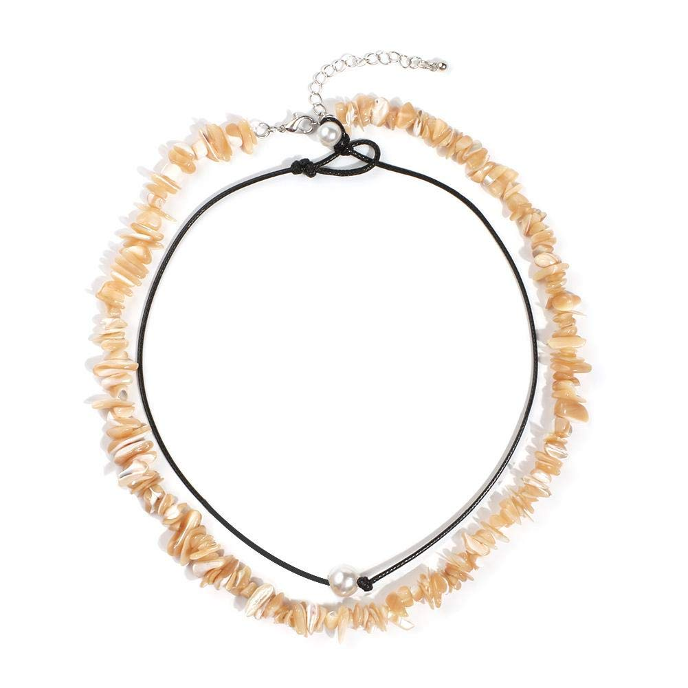 Conjunto de Collar de Perlas Collar de fragmentos de Concha de Grava para Mujer Banquete Fecha Fiesta de Compras Estilo 024 Wicemoon