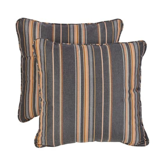 Mozaic Company AZPS5355 Indoor Outdoor Sunbrella Square Pillow with Corded Edges, Set of 2, 20 x 20, Grey & Orange Stripes - Color: Grey/ Orange Stripe Materials: Polyester fabric, filled with 100% recycled polyester fiber Weather, mildew, fade and stain resistant with UV protection - patio, outdoor-throw-pillows, outdoor-decor - 51f7Nut1O3L. SS570  -