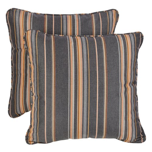 Mozaic AZPS2582 Indoor Outdoor Sunbrella Square Pillow with Corded Edges, Set of 2, 18 inches, Grey Orange Stripes