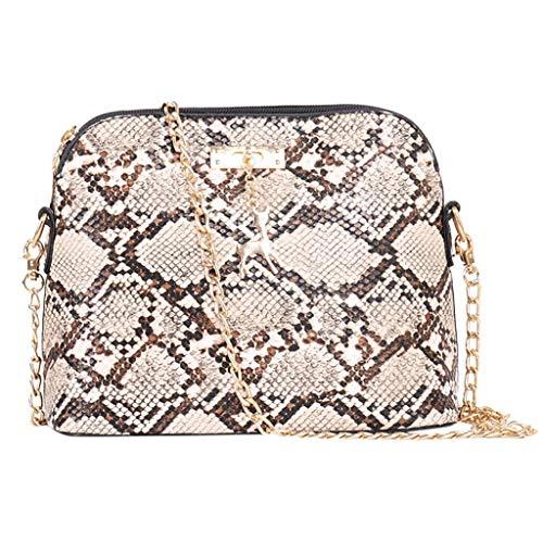 Clearance Sale! ZOMUSAR Women Fashion PU Leather Zipper Small Deer Splice Handbag Shoulder Shell Bag Shiny Crossbody Tote Bag (Beige )