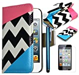 Bastex Leather Wallet for Apple Touch 4, 4th Generation iPod - Hot Pink and Sky blue Clutch with Stylus and Screen protector