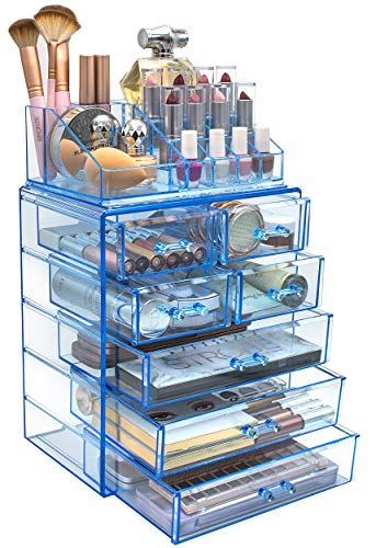Sorbus Cosmetic Makeup and Jewelry Storage Case Display - Spacious Design - Great for Bathroom, Dresser, Vanity and Countertop (3 Large, 4 Small Drawers, Blue Brilliance)