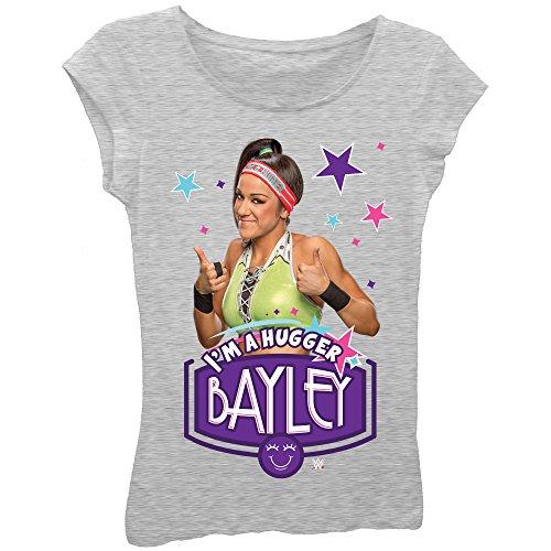 Bayley I'm a Hugger Superstar Girls Kids Grey T-Shirt-YXL by Freeze