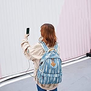 Canvas Backpack for Women, Yousu College Backpack for Girls Casual Vintage Canvas Fashion Rucksack Backpack Teen Girls Bookbags Grey