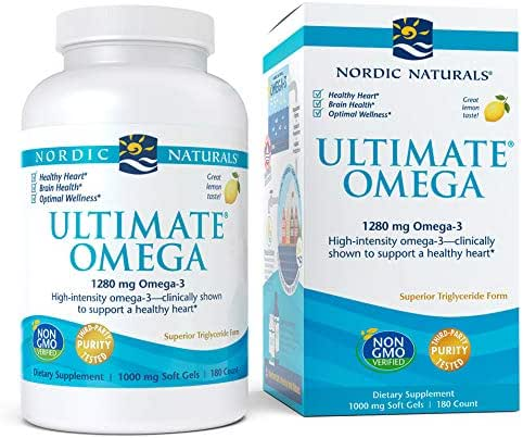 Nordic Naturals, Ultimate Omega, Fish Oil Supplement with Omega-3 DHA and EPA, Supports Heart Health and Brain Development, Burpless Lemon Flavor, (90 Servings) 180 Soft gels