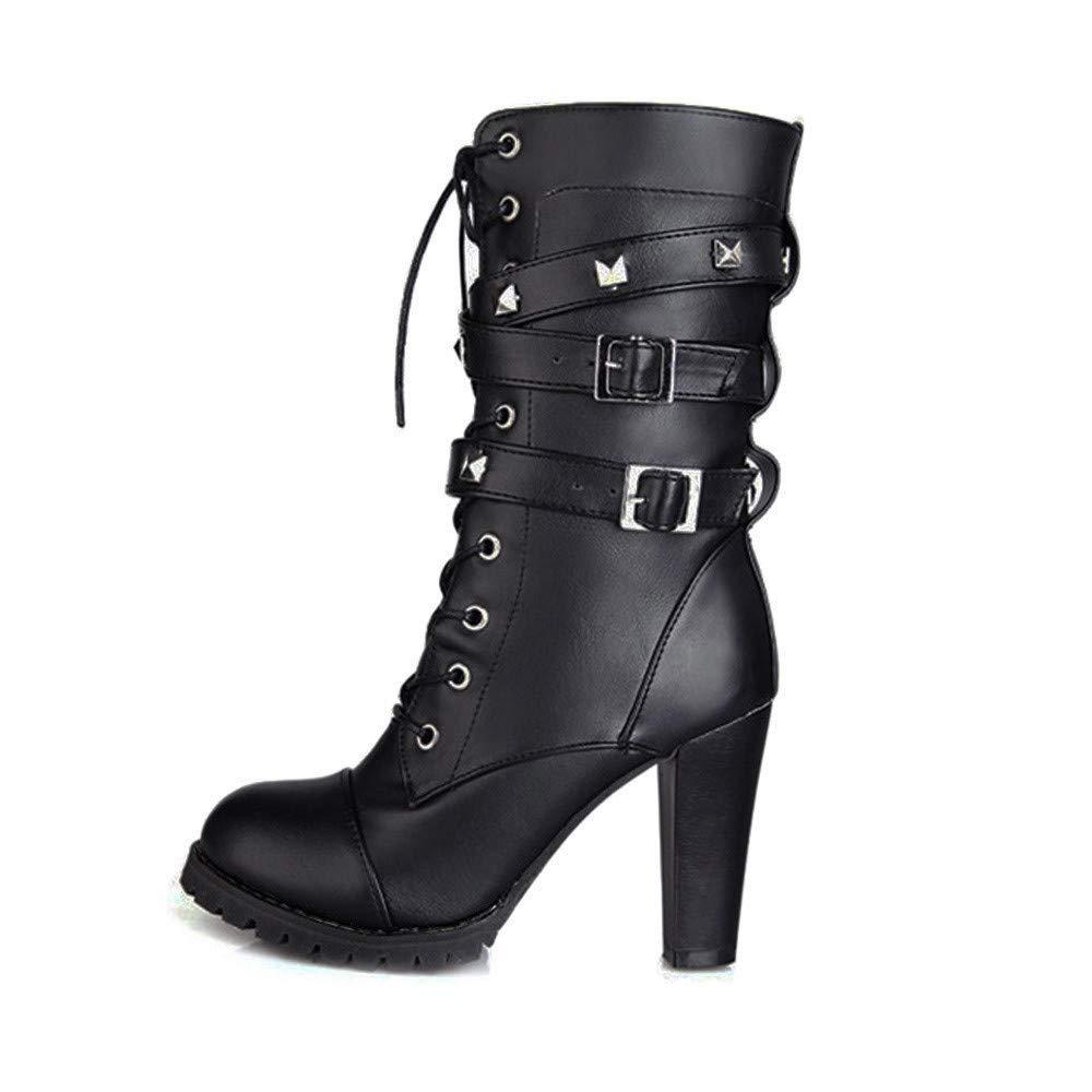 LuckyGirls Botas Mujer Moteras Botines Remaches Moda Botas Casual Calzado Zapatillas con Cordones Zapatos de Tacó n 10cm