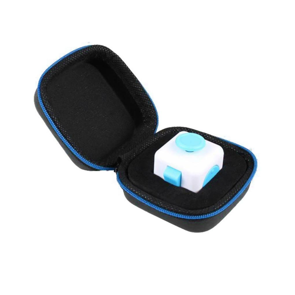 Yoyorule Gift For Fidget Cube Anxiety Stress Relief Focus Dice Bag Box Carry Case Packet (Blue)
