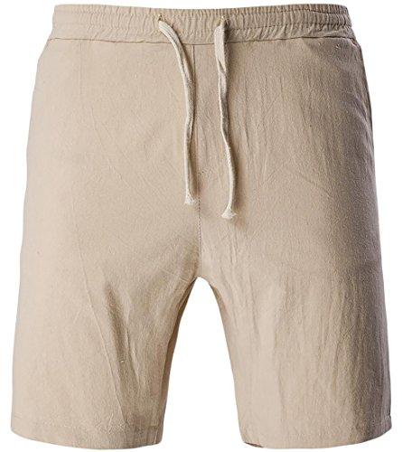 Cheap Fulok Mens Solid Fashion Linen Drawstring Summer Shorts Pants for sale