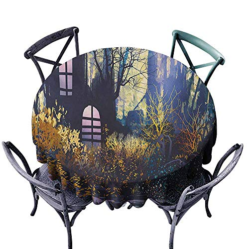 Lgckeg Restaurant Tablecloth Fantasy Mystical House in Tree Trunk with Windows Ancient Lost City Animation Nature Print Multicolor Excellent Durability D59