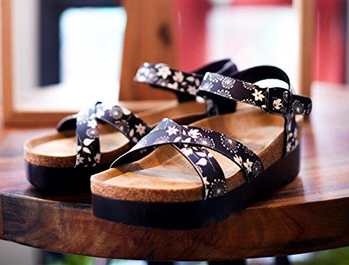 Dilize Women's Cross Strap Cork Platform Summer Flat Sandals Print Black mcEyasLi