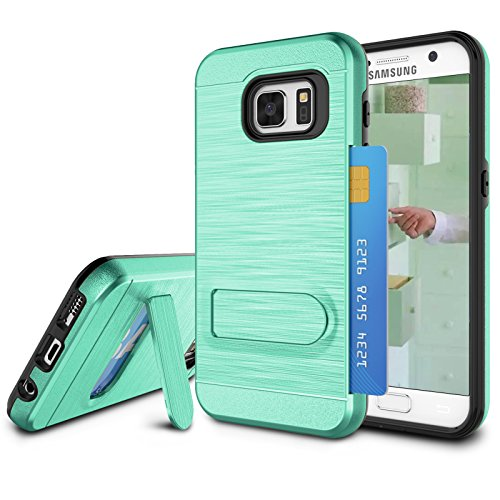 Galaxy S7 Case, S7 Card Holder Cover, Jeylly Turquoise [Metal Satin] Card Holder with Kickstand Hybrid Dual Layer Hard Plastic + Soft TPU Drop Protection Case Cover for Samsung Galaxy S7 G930