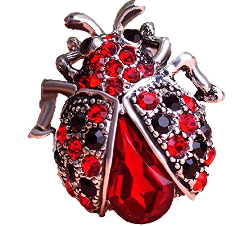 From the Heart LADY BUG Brooch Embellished with Red & Black Crystals.Nice Gift for Atlanta Falcons or Georgia Bulldogs ()