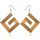 1Pair Woman Indian Africa Big Drop Earring Wooden Earrings For Women Jewelry Geometric G Natural Wood Long Dangle Earings E1455,brown