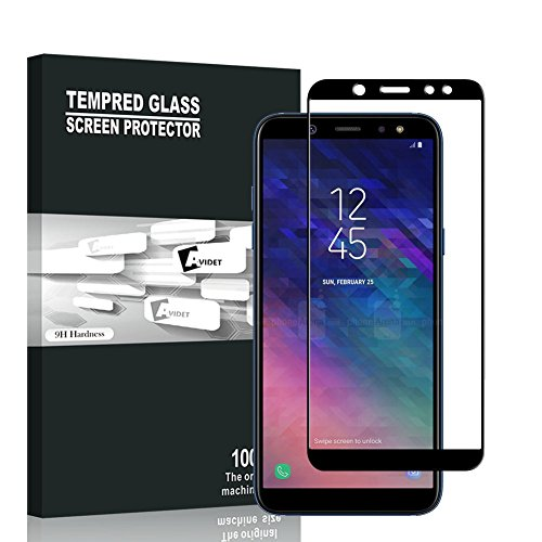 Samsung Galaxy A6 2018 Screen Protector, AVIDET Full Screen Coverage, Premium Tempered 3D Glass Screen Protector for Samsung Galaxy A6 2018 (9H Hardness 0.3mm)(Black)