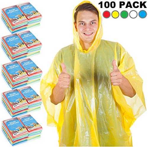 - Wealers Rain Ponchos for Adults Teens Disposable Rain Poncho Bulk Pack for Women Men Emergency Raincoat for Large Groups Theme Parks Camping Outdoors Multi Colors Waterproof Rain Ponchos (100 Pack)