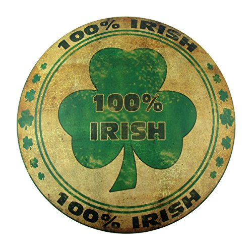 Irish Pub Sign - 100% Irish Round Dome Button Tin Metal Sign Home Bar/Pub/Tavern House Wall Decor