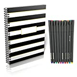 Planning System Daily to-Do List Notebook | Nondated Planner Vertical Layout | Agenda Notebook Spiral to Do List with Habit Tracker, Note Page Bundle with Fineliner Color Pen Set 10 Assorted Colors