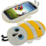 Celicious White Bees Bzzzzz Shaped Cover Case for Samsung Galaxy S4 I9500