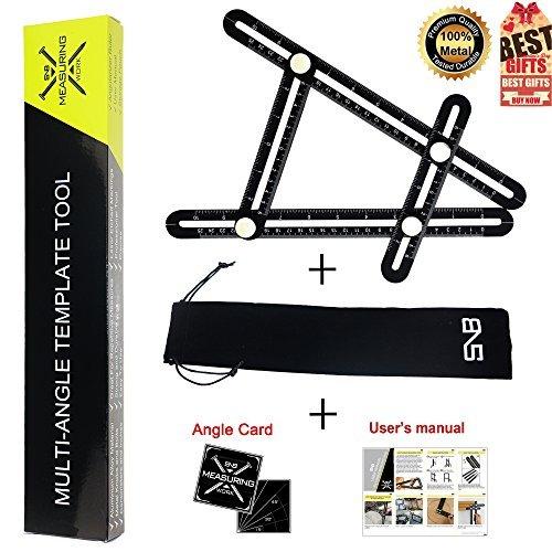 Multi Angle Measuring Tool | Universal Aluminum Black Angleizer Template Tool | Upgraded Full Metal Ruler for Roofer,Woodworker,Builder,Carpenter,Tiler,DIYer (Ruler+Angle Card+Tool Bag+User Manual) by SnB Buy