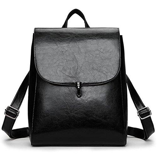 (JVP1011-K) japonés bolso de las señoras de cuero de LA PU mochila impermeable marrón lindo popularidad mochila liviana impermeable de gran capacidad para el viajero de la escuela colegialas mochila Negro