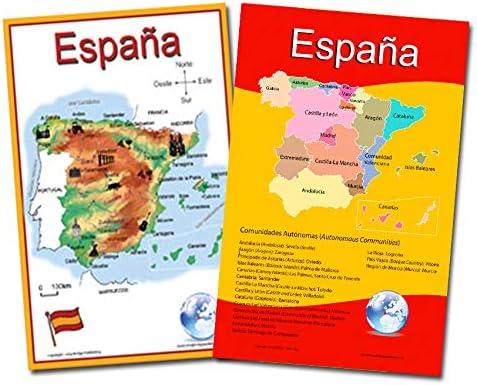 Español idioma escuela Póster – Juego de 2 mapas de España: simplificado mapa y mapa con las 17 comunidades autónomas – gráficos de pared para casa y aula – Español e Inglés