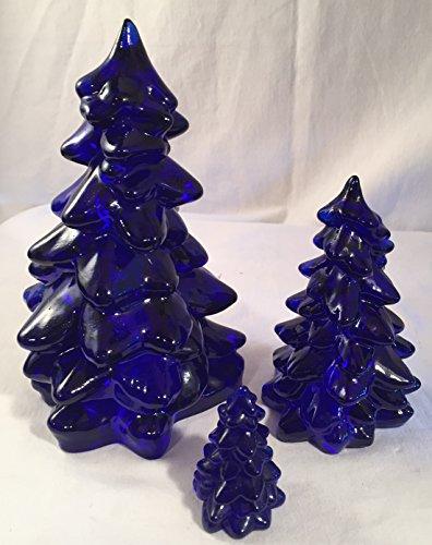 3 Piece Holiday Glass Christmas Tree Set - Mosser USA (Cobalt Blue)