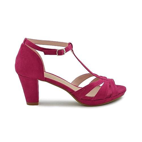 minorista online c1329 bf044 Zapato Fiesta tacón Medio Fucsia: Amazon.es: Zapatos y ...