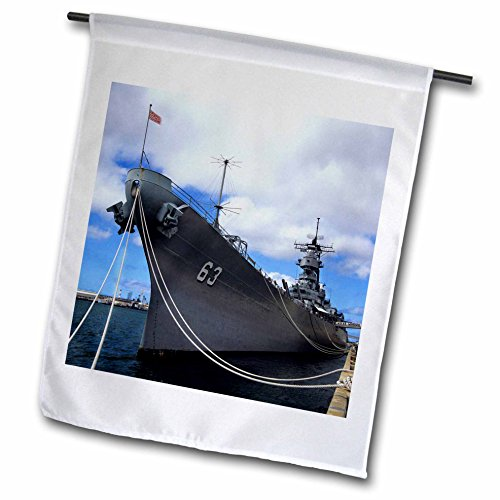 3dRose fl_89801_1 WWII USS Missouri, Pearl Harbor, Hawaii-Us12 Jgi0132-Jerry Ginsberg Garden Flag, 12 by 18-Inch ()