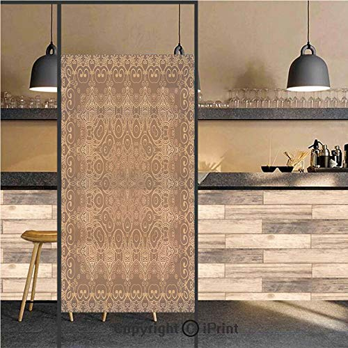 3D Decorative Privacy Window Films,Vintage Lacy Persian Arabic Pattern from Ottoman Empire Palace Carpet Style Artprint,No-Glue Self Static Cling Glass Film for Home Bedroom Bathroom Kitchen Office 2 ()