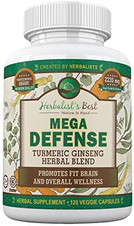 Mega Defense The Best Immune Brain Support Supplement – Turmeric Curcumin with Ginseng, Olive Leaf Bioperine Black Pepper . Arthritis, Joint Natural Pain Relief with Anti-Inflammatory Antioxidants