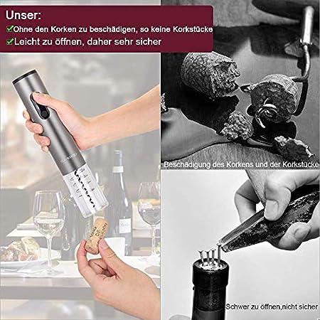 SAMBOO Sacacorchos Eléctrico Inalámbrico Profesional Automatico Abrelatas de Vino Abrebotellas Abridor Botellas con Cortador Vertedor Tapón de Vino Silicona de Vacío Recargable Caja de Regalo