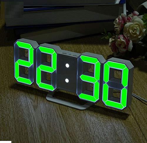 WDDqzf 3D LED Reloj Digital con Modo Nocturno Ajustar el Brillo Reloj de Mesa electrónico Moderno Reloj Despertador Pared Que Brilla intensamente Reloj ...