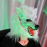 Halloween Clearance, Woman Men Cosplay Mask Terror Wolf Ghost Mask Cosplay Costume Party Mask (White)