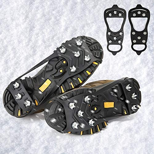 QINI Crampons for Boots, crampons for Hiking and Anti-Skid, Walking Traction Cleats for Walking on Snow and ice, Upgraded Stainless Steel Cleats, The Best Choice for Winter Hiking Gear