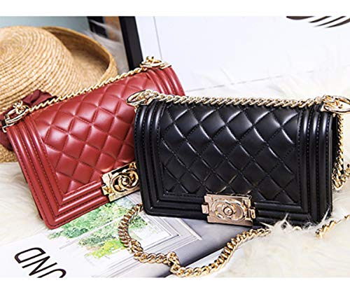 Handbags Quilted Shoulder Jelly Purse Crossbody Red Bag Chain PVC Women for Purse RTWB5Tqw7