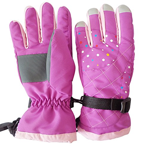 Waterproof Skiing Gloves,Klau Fashion Women's Femal Winter Ski Snowboard Warm Gloves Full Finger Mittens Purple for Outdoor Sports Cycling Riding