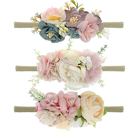 Baby Floral Headband Nylon Turban Girl Elastic Head Wraps For Newborn Infant Toddler Girls Pack Of 3 (FLOWER-01)