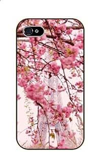 LJF phone case iPhone 5 / 5s Floral view of Eiffel Tower - black plastic case / Paris, France