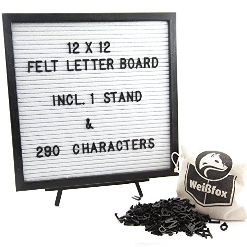 Weißfox 12x12 Inches Changeable Felt Letter Board - White Felt, Black Paulownia Wood Frame | Wood Stand, 290 ¾ Inch Black Characters, Wall Mount, and Canvas Bag Included