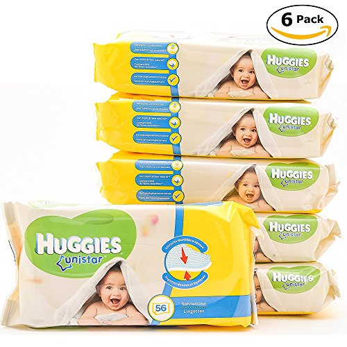 Huggies UNISTAR, Soft & Natural Absorbent Wipes, Perfect for Newborns & Gentle for Makeup Removal, 56 Wipes X 6 Pack - Total 336 Wipes