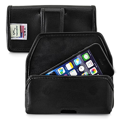 Turtleback Holster Compatible with Apple iPhone SE 5 5c 5s Black Belt Case Leather Pouch with Executive Belt Clip Horizontal Made in USA