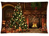 Fabulous Store Cutsom Rectangle Peaceful Christmas Night Green Christmas Tree Warm Fireplace Pillow Cases Covers Standard Size 20x30(one side)