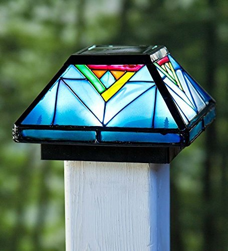 Plow & Hearth 53383 Artisan Glass Solar Post Cap Light